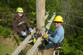 working on a telephone pole